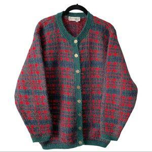 Vintage Edinburgh Plaid Mohair Blend Cardigan